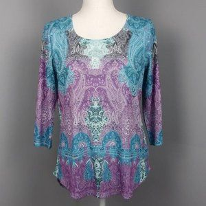 Live and Let Live Scoop Neck Pullover Blouse Sz S
